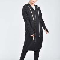 Black Maxi Hooded Cotton Cardigan A08336