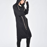 Black Maxi Hooded Cotton Cardigan A08336