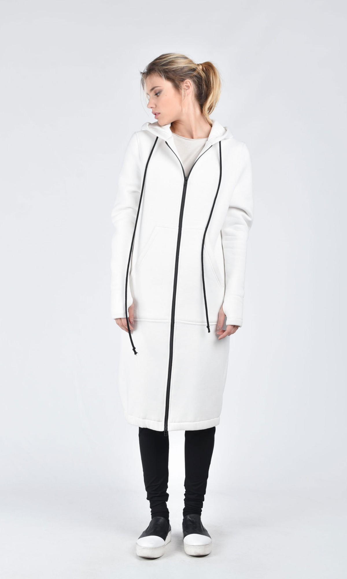 Extravagant Maxi Off-white Hoodie A08514