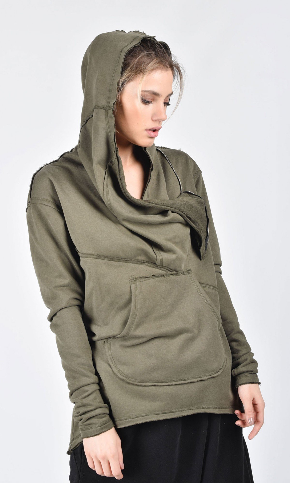 Extravagant Asymmetric Cotton Hooded Sweatshirt A08533