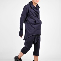 Black Extravagant Asymmetric Cotton Hoodie A08565M