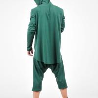 Navy Asymmetric Long Sleeves Hooded Sweatshirt A12239M
