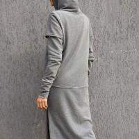 Grey Extravagant Maxi Hoodie A08604
