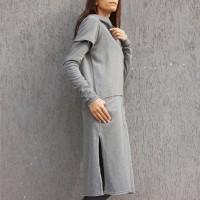 Hoodies - Grey Extravagant Maxi Hoodie A90015