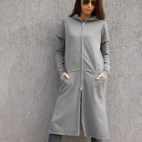Double Zipper Extravagant Maxi Hoodie A08604