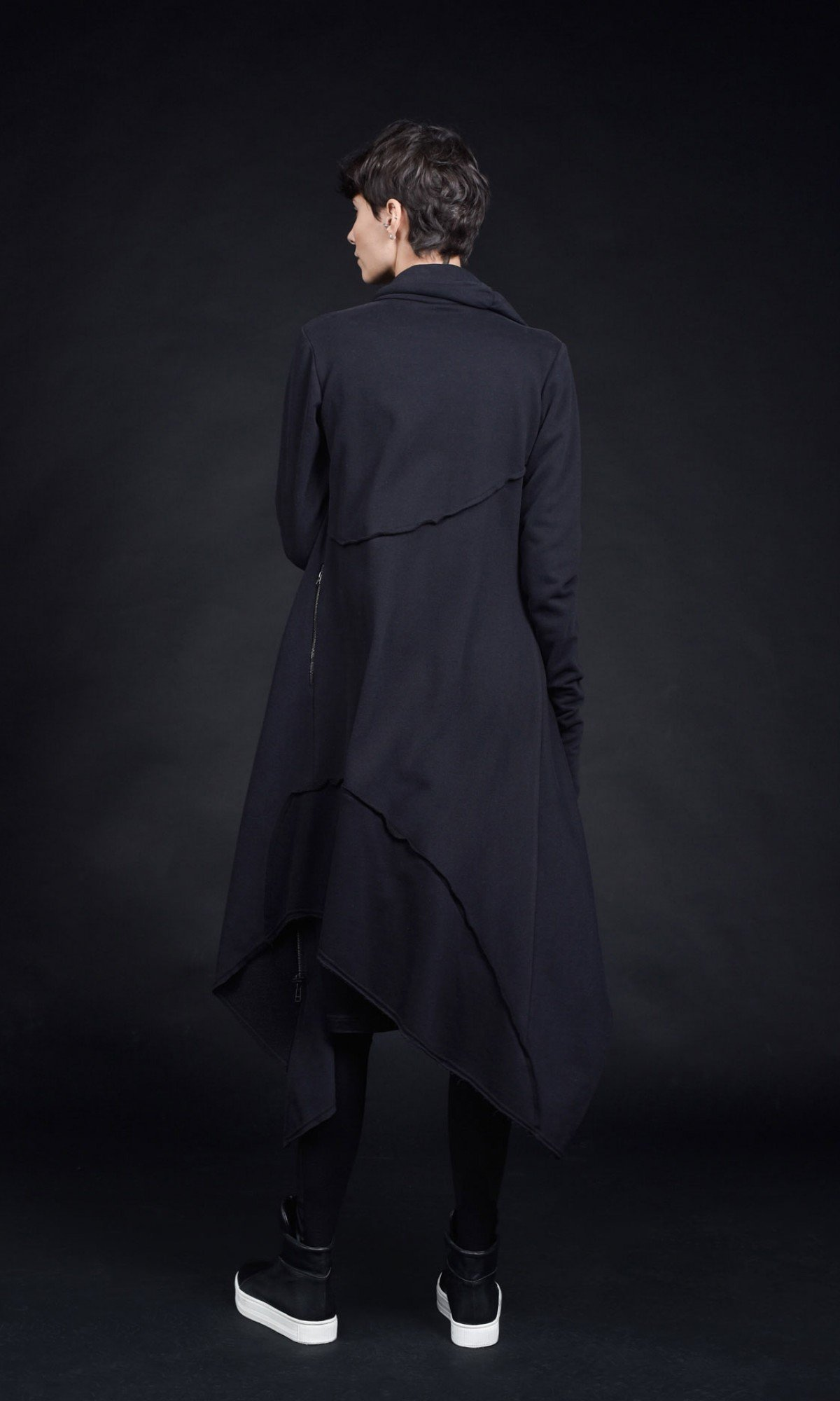Extra Long Asymmetric Hoodie A90413