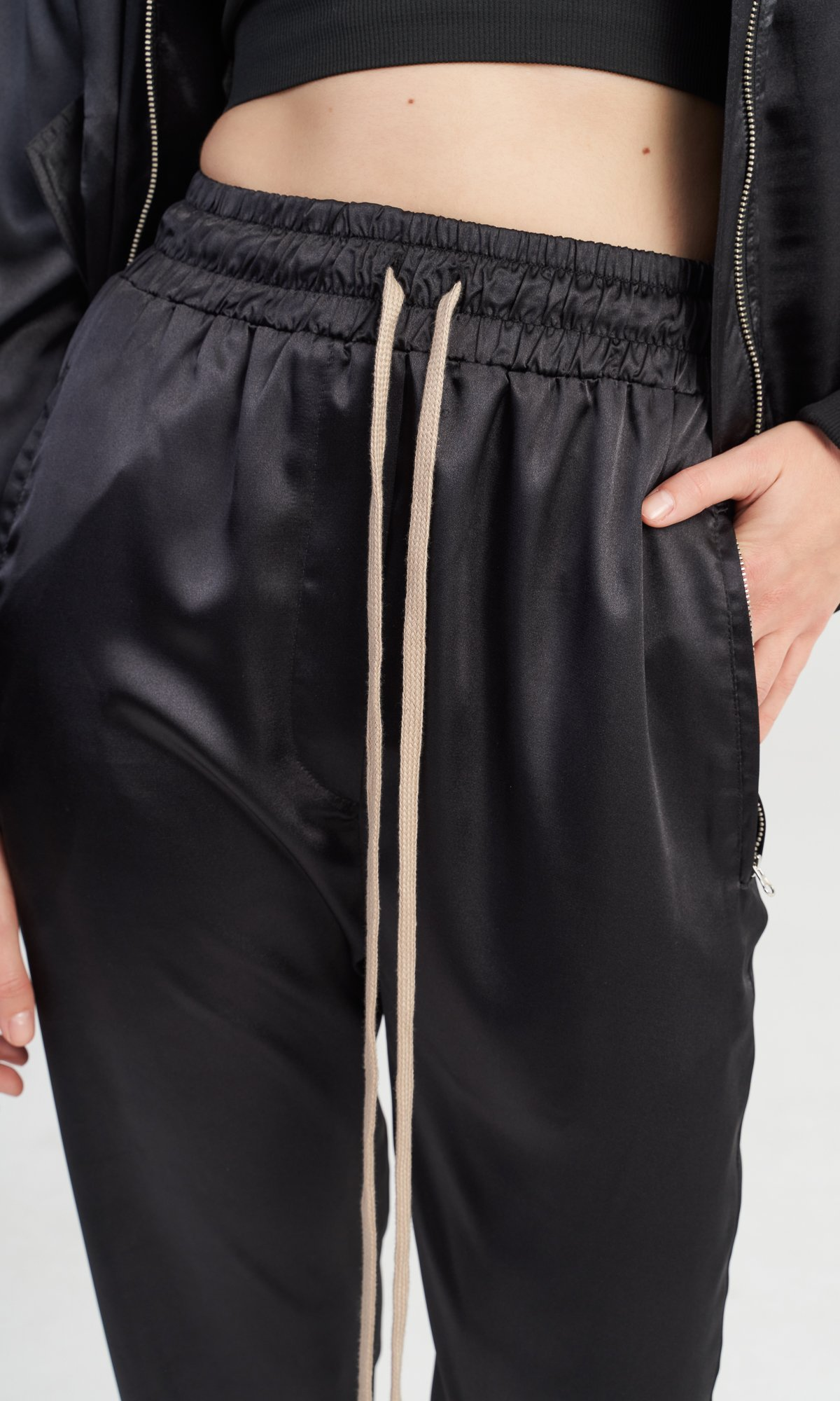 Black Satin Harem Pants