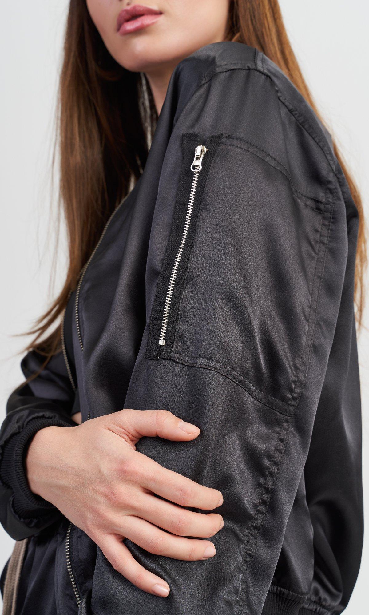 Black Satin Bomber Jacket
