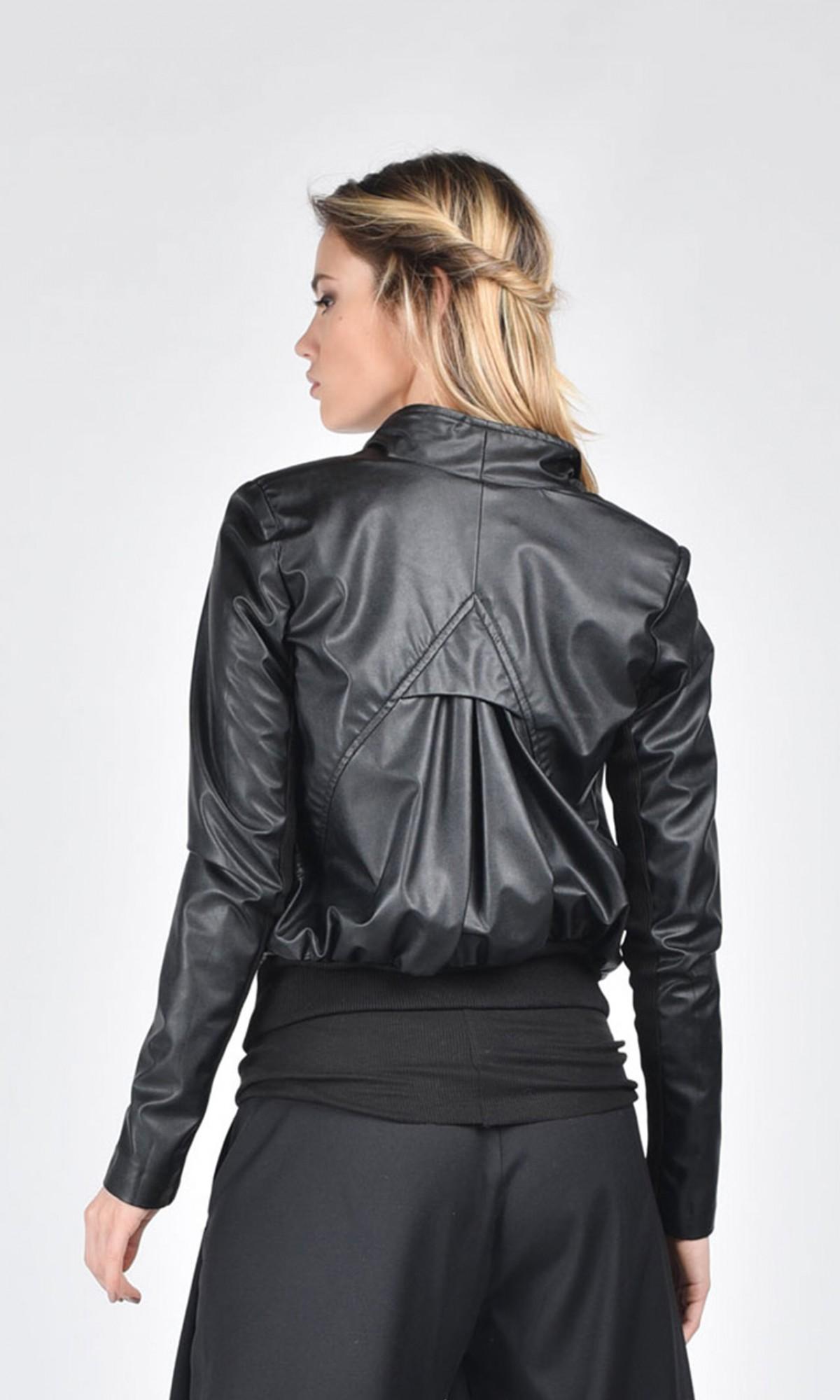 Extravagant Short Black Eco Leather Jacket A20261