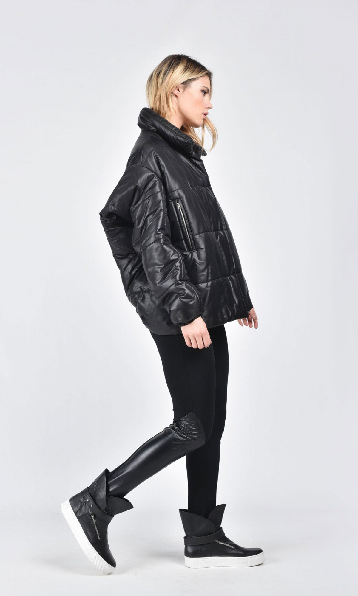 Winter Warm Asymmetric Extravagant Midi Sleeves Black Coat A20344