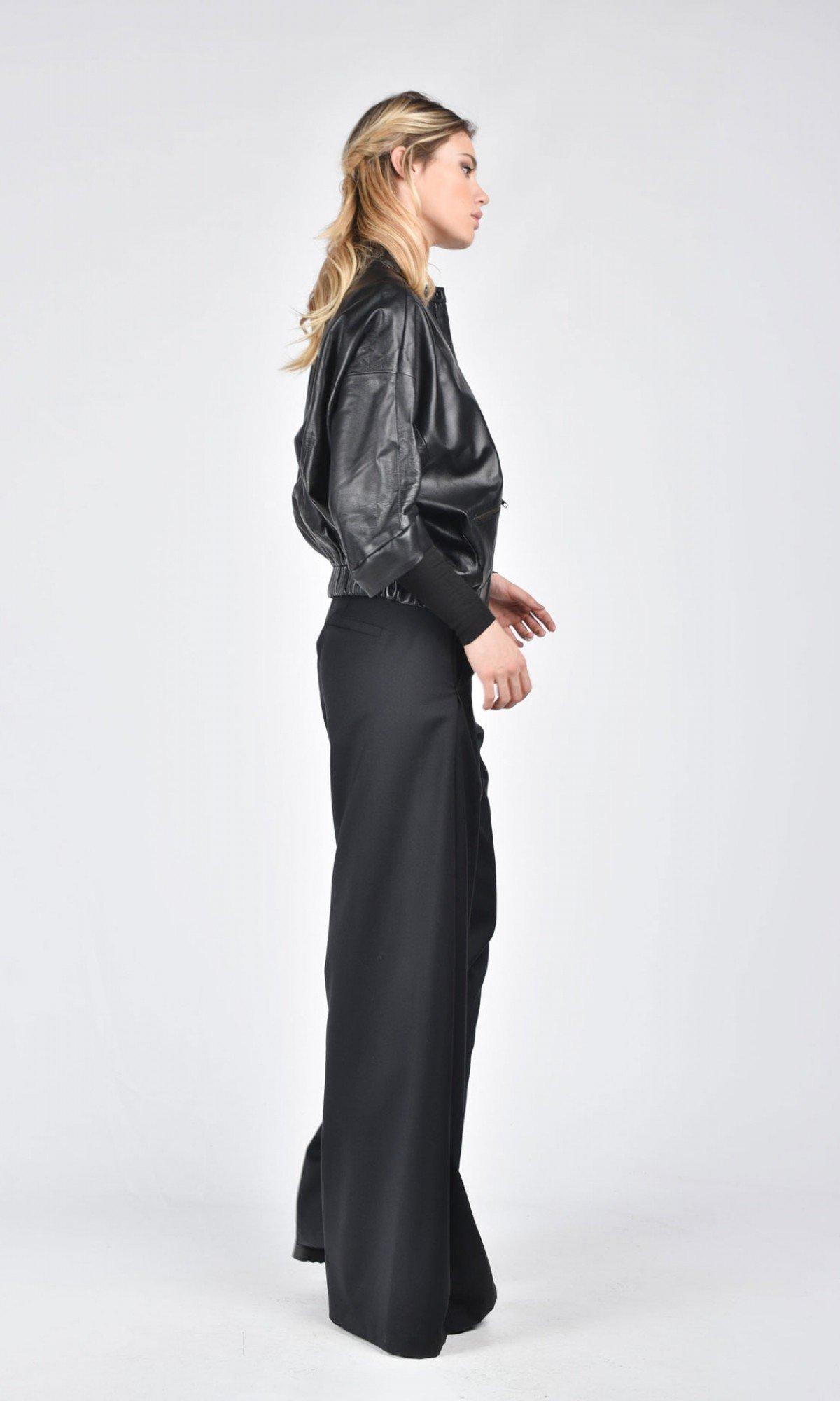 Short Black Genuine Leather Jacket