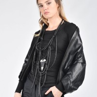 Extravagant Short Black Genuine Leather Jacket A20354