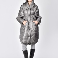 Quilted High Collar Jacket with Removable Sleeves A20673