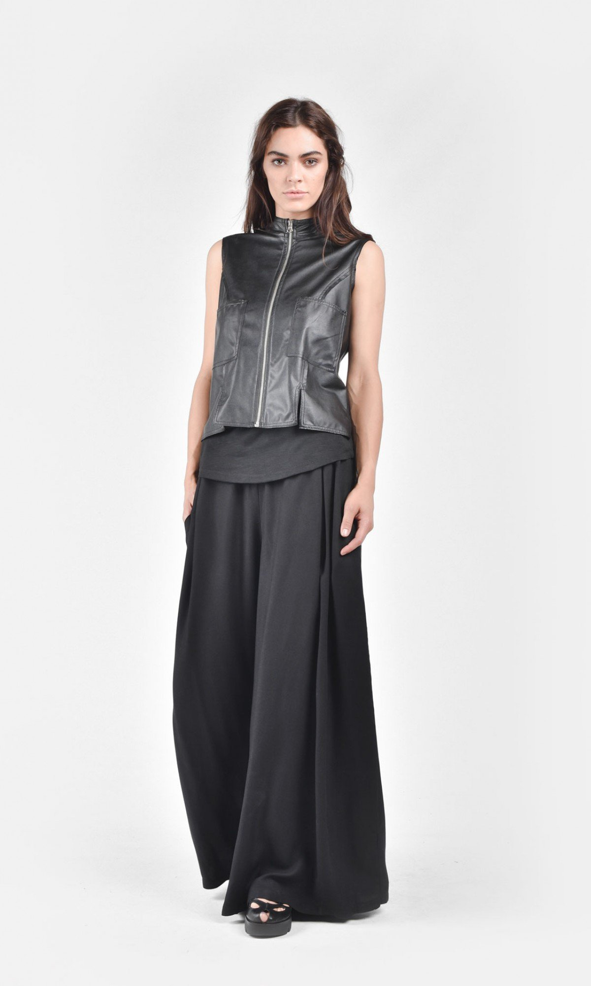 Front Zip Eco Leather Vest A90088