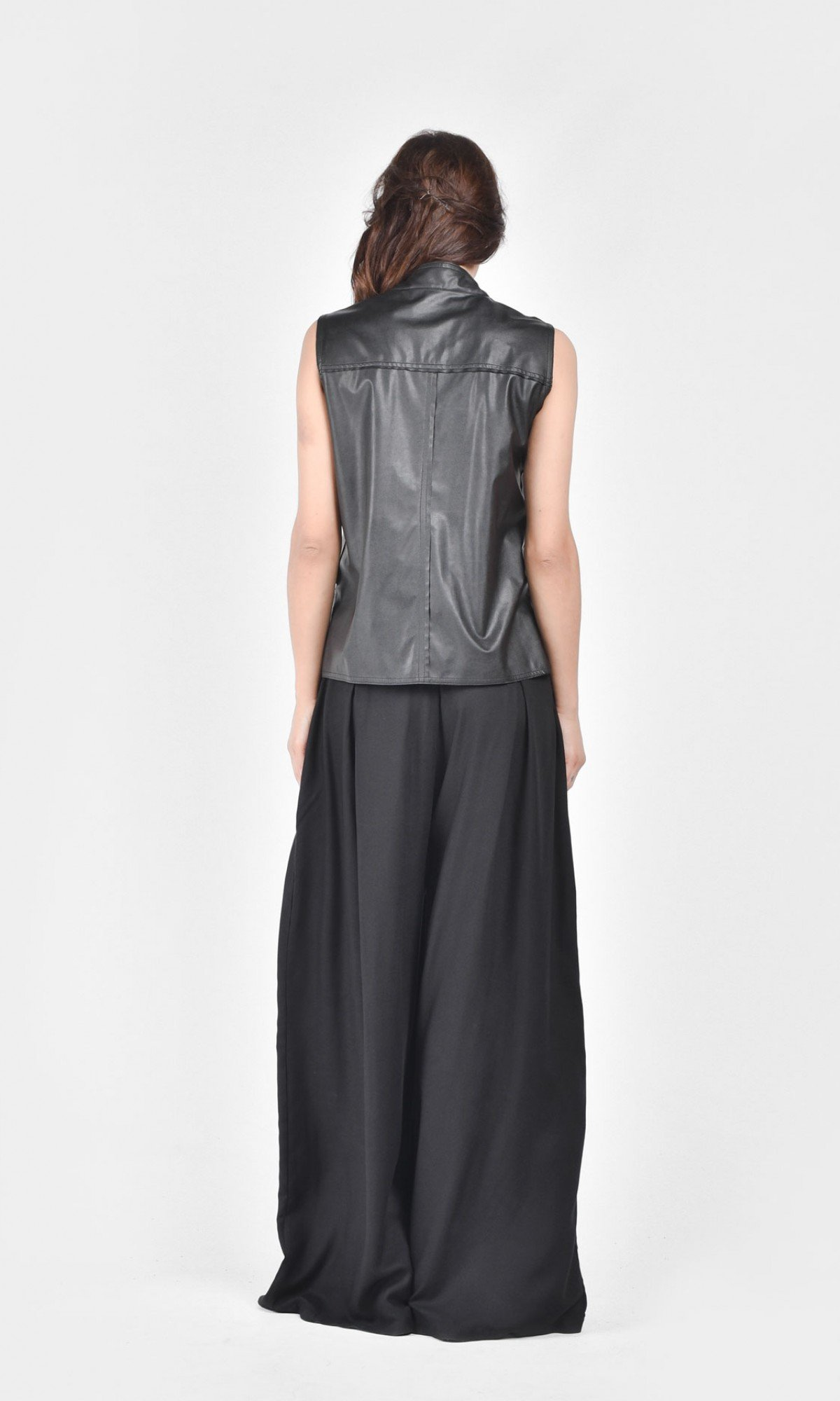 Front Zip Eco Leather Vest A90088