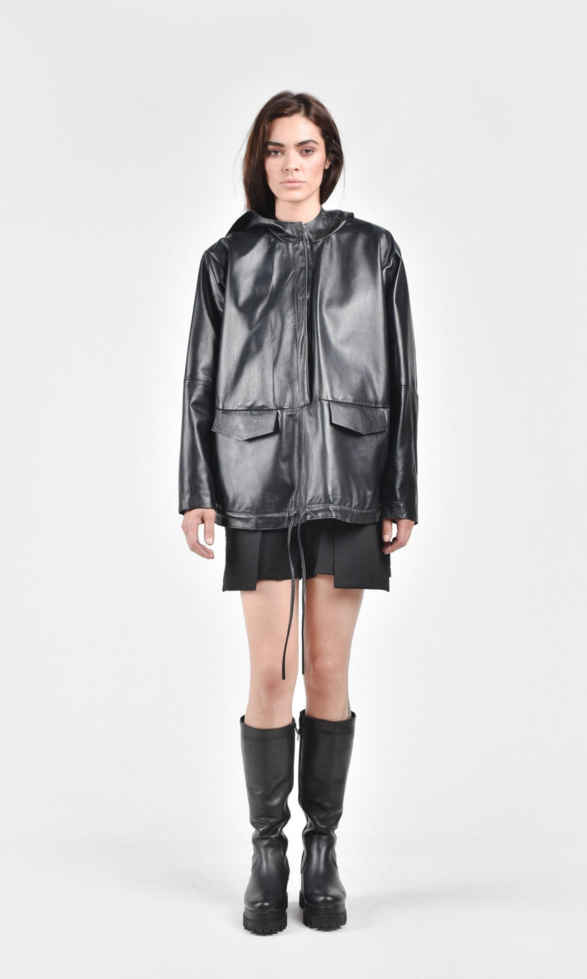 Straight Hooded Eco Leather Top A20704