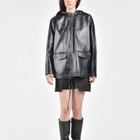 Straight Hooded Genuine Leather Top A90103