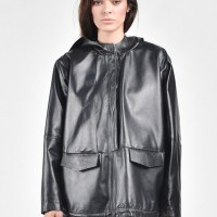 Straight Hooded Eco Leather Top A90102