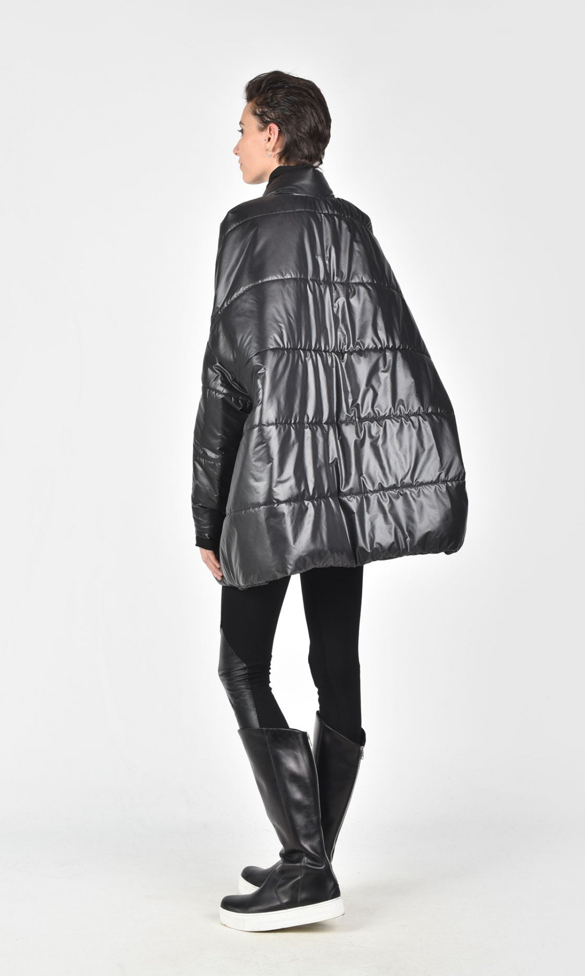 Short Quilted Oversized Coat A90146