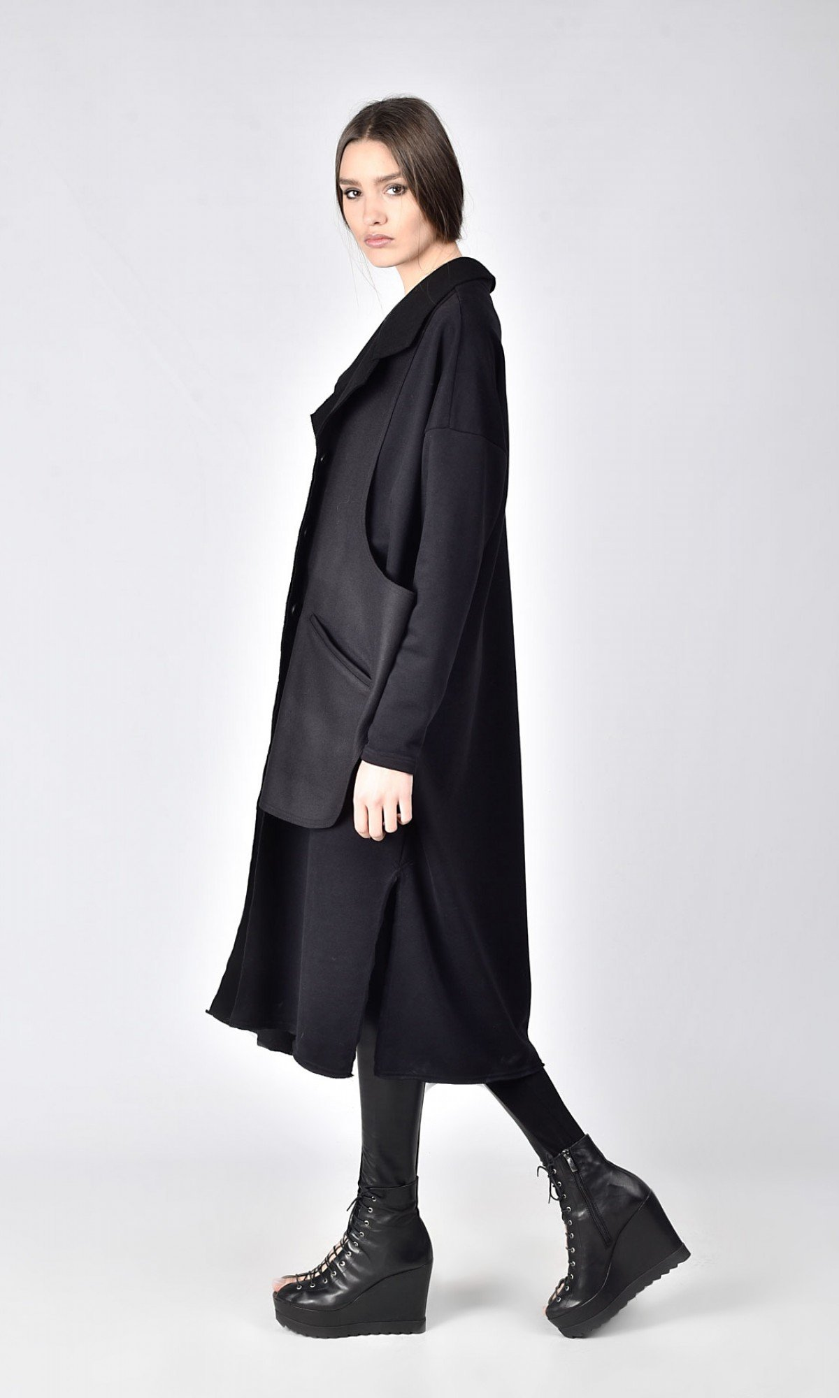 Cotton Trench with side slits A07777