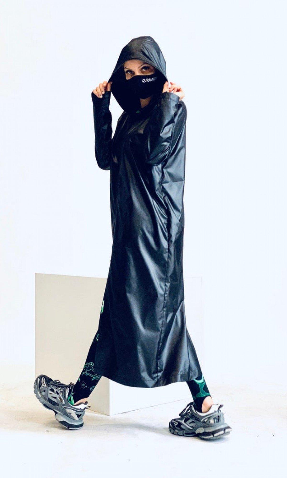 Modern Hooded Black Raincoat