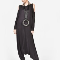 Black Jumpsuit with Shapeshifting Sleeves A19316