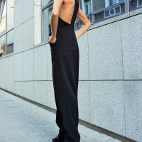 Sexy Black Drop Crotch Jumpsuit A19349