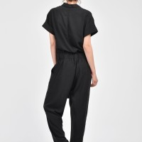 Black Viscose Textile Jumpsuit A19417