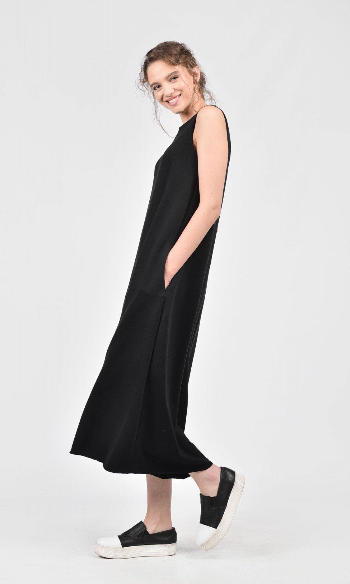 Black Cotton Wide Leg Jumpsuit A19495
