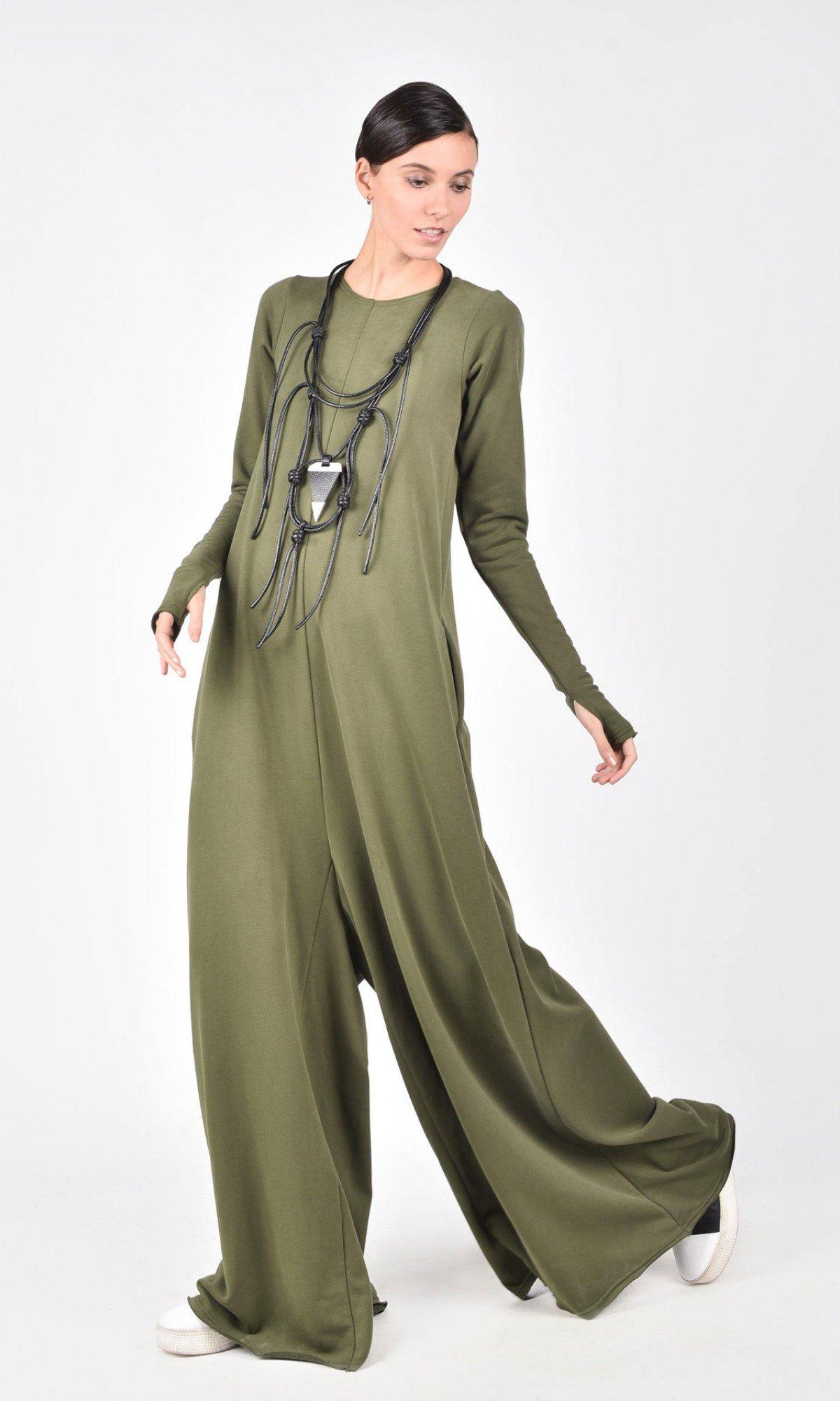 Wide Leg Maxi Cotton Jumpsuit A19517