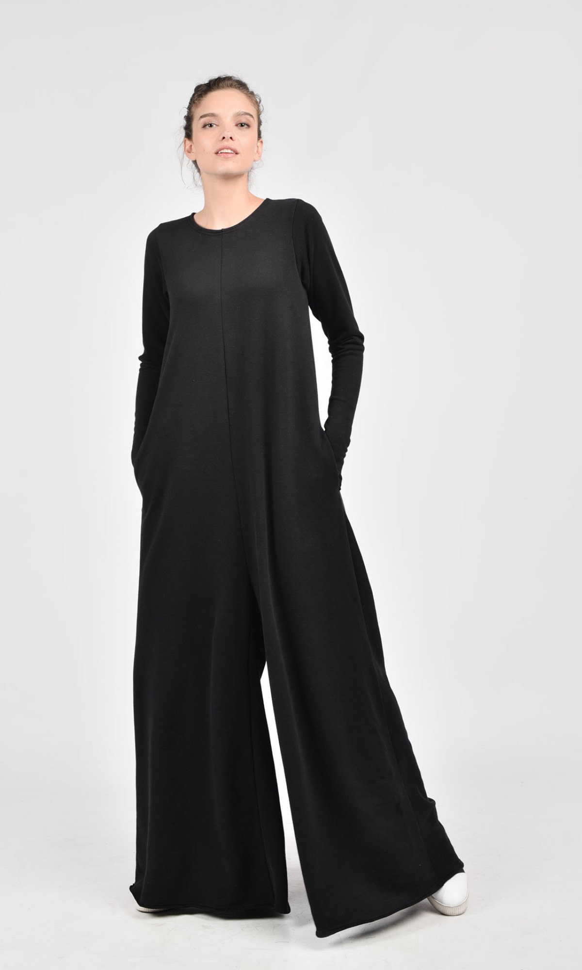 Black Cotton Wide Leg Maxi Jumpsuit A19517