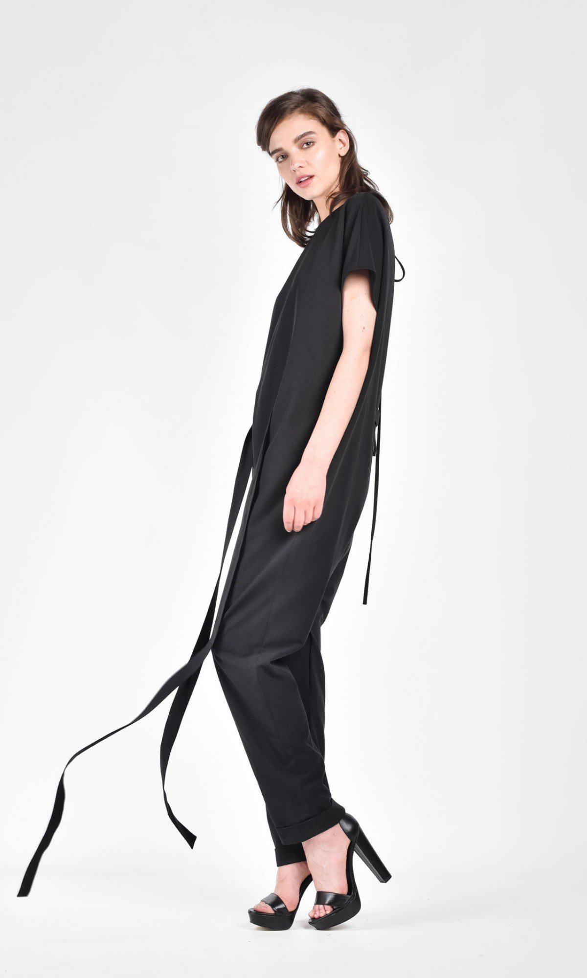 Drop Crotch Jumpsuit with a Belt A19622