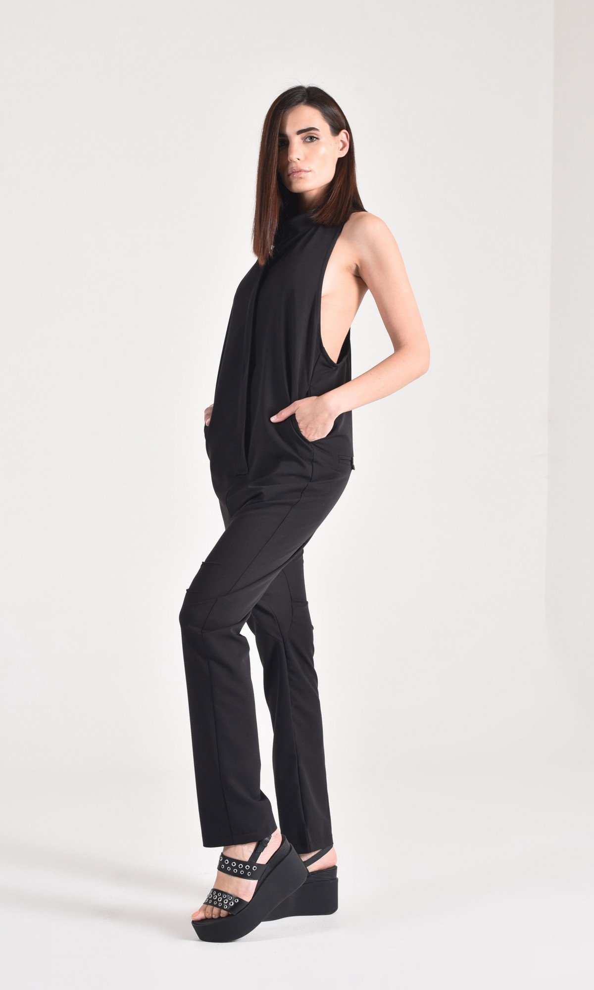 Elegant Open Back Cotton jumpsuit A19733