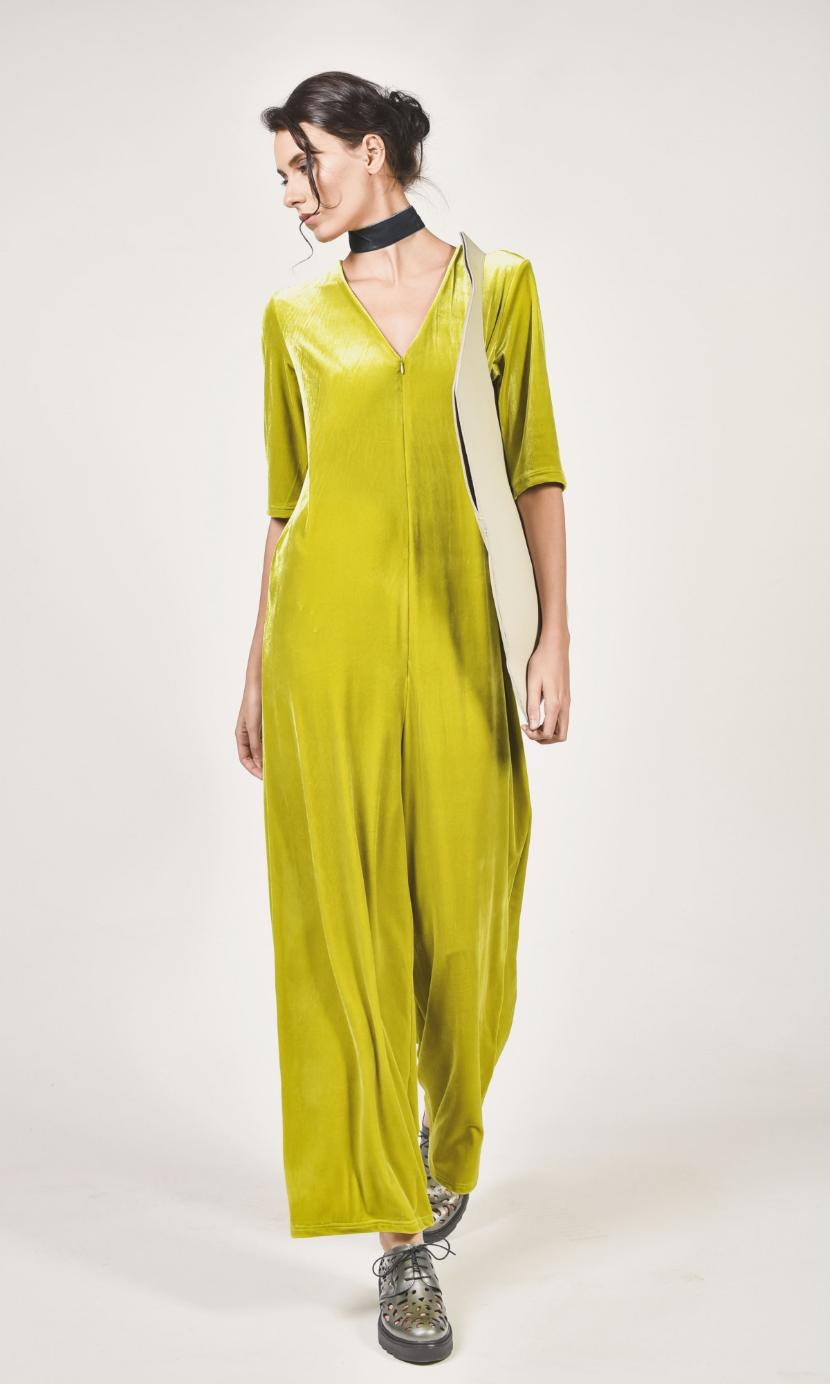 Jumpsuits - Short Sleeve Velvet Jumpsuit A90039