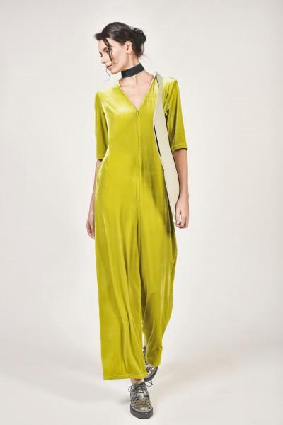Short Sleeve Velvet Jumpsuit A90039