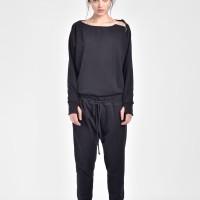 Open Back Long Sleeve Cotton Jumpsuit A90070