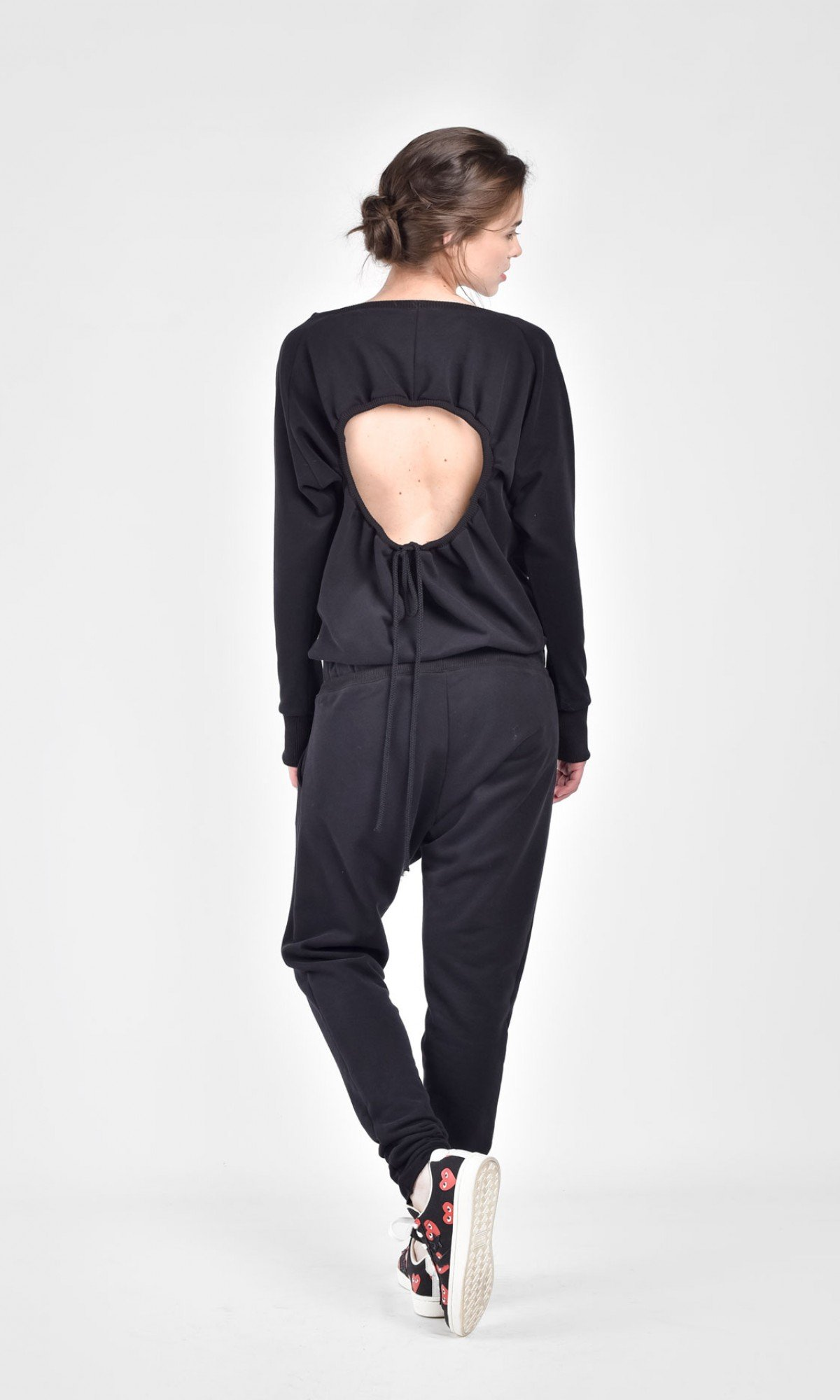 Open Back Long Sleeve Cotton Jumpsuit A19638