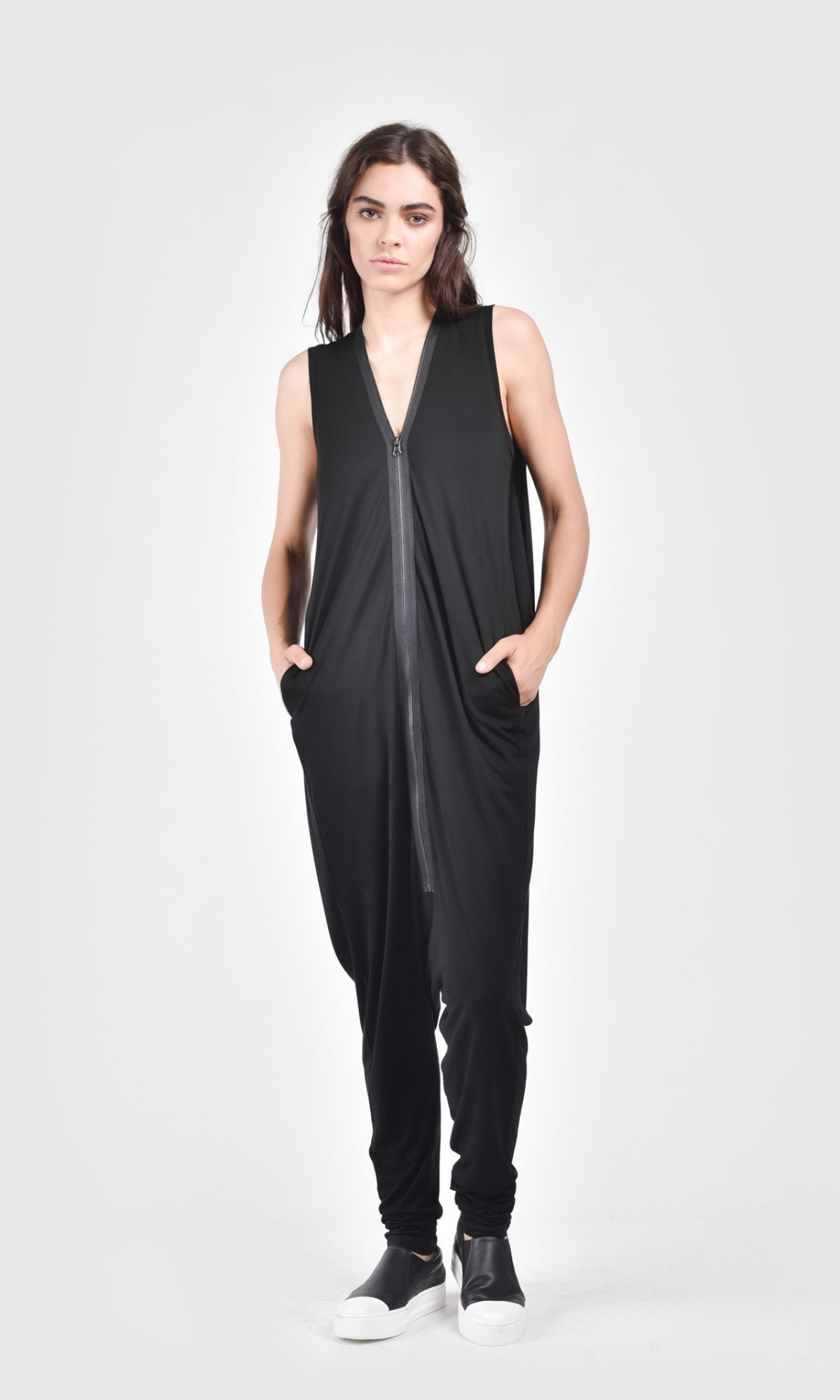 Long Front Zipper Jumpsuit A19668