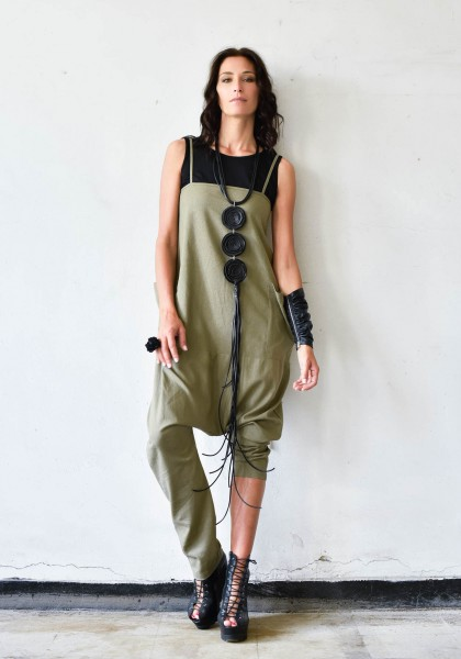 Aakasha New Casual Spaghetti Strap Linen Jumpsuit A90288