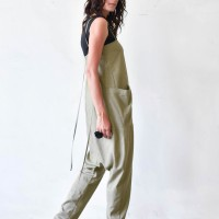 Aakasha New Casual Spaghetti Strap Linen Jumpsuit A19753