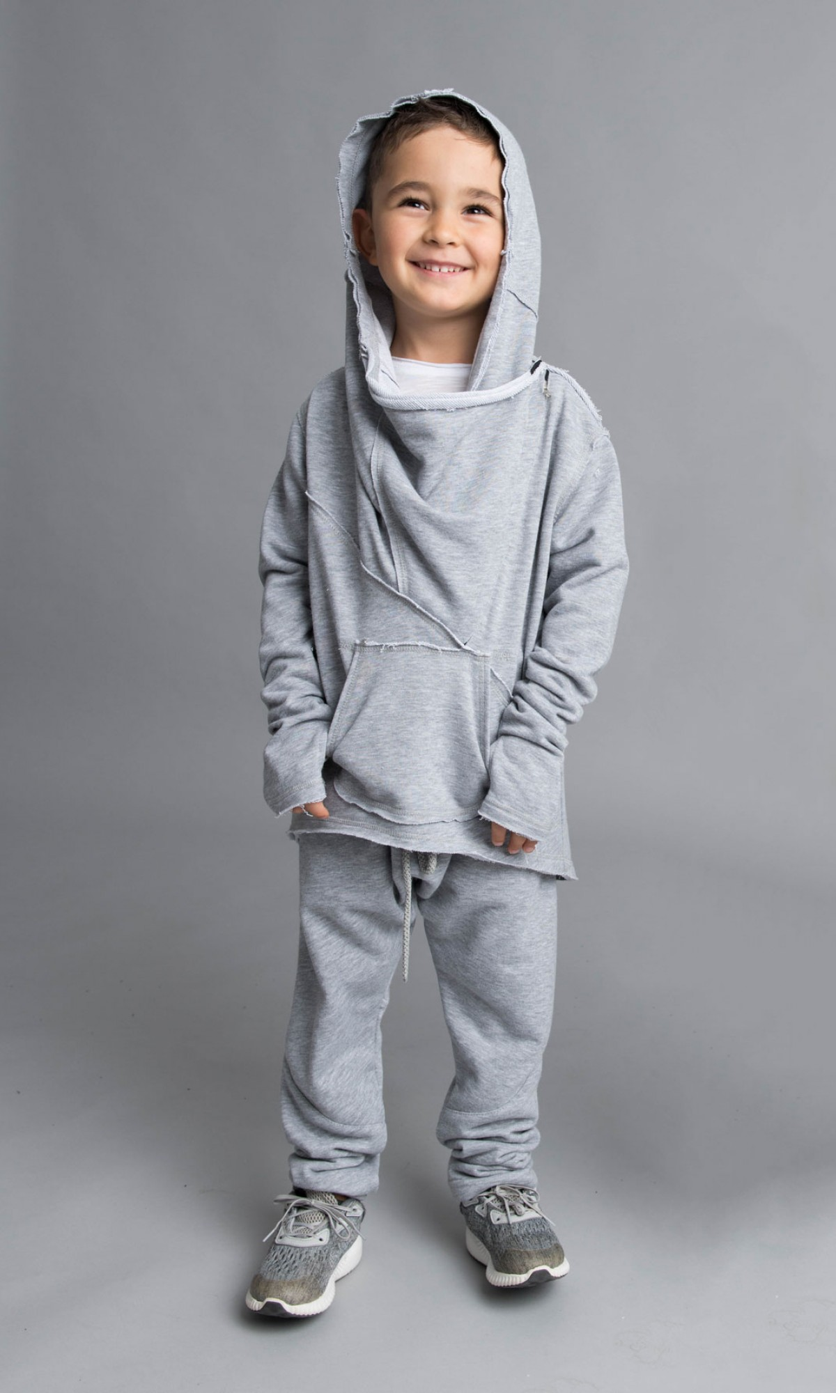 Asymmetric Front Pocket Cotton Hoodie A08533C