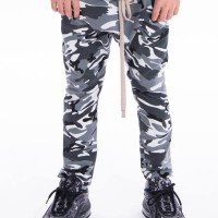 Long drop crotch pants with zipper pockets A05240C