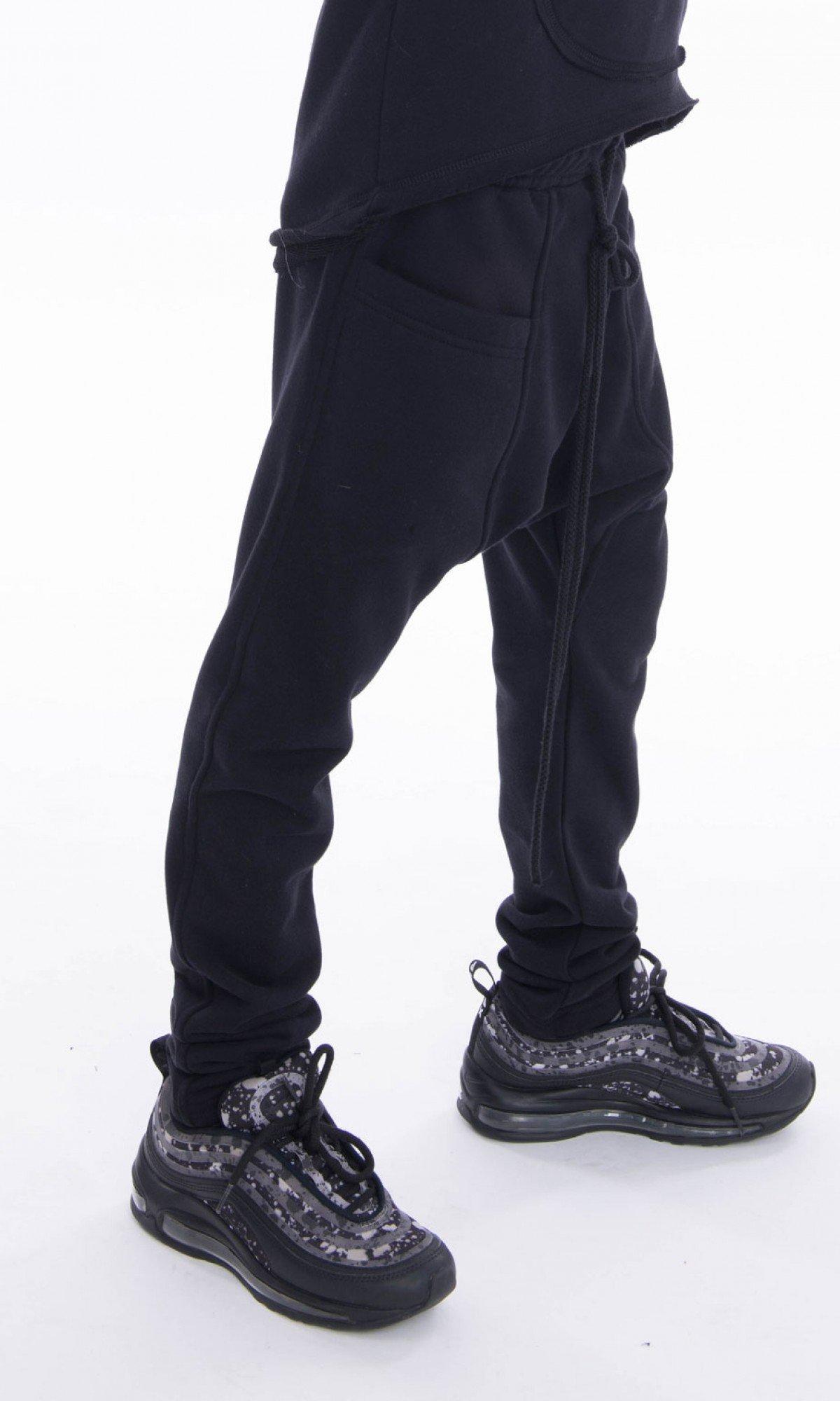 Long drop crotch pants with big front pockets A90388C