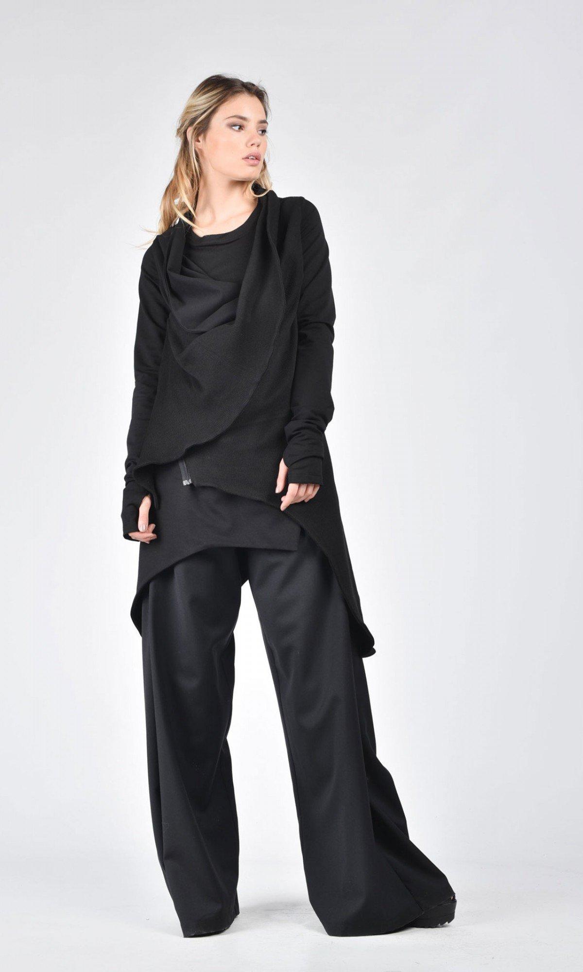 Black Cotton Coat A07098