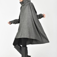 Grey Extravagant Asymmetric Detachable Hoodie A08319