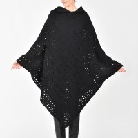 Hooded Knit Poncho A08614
