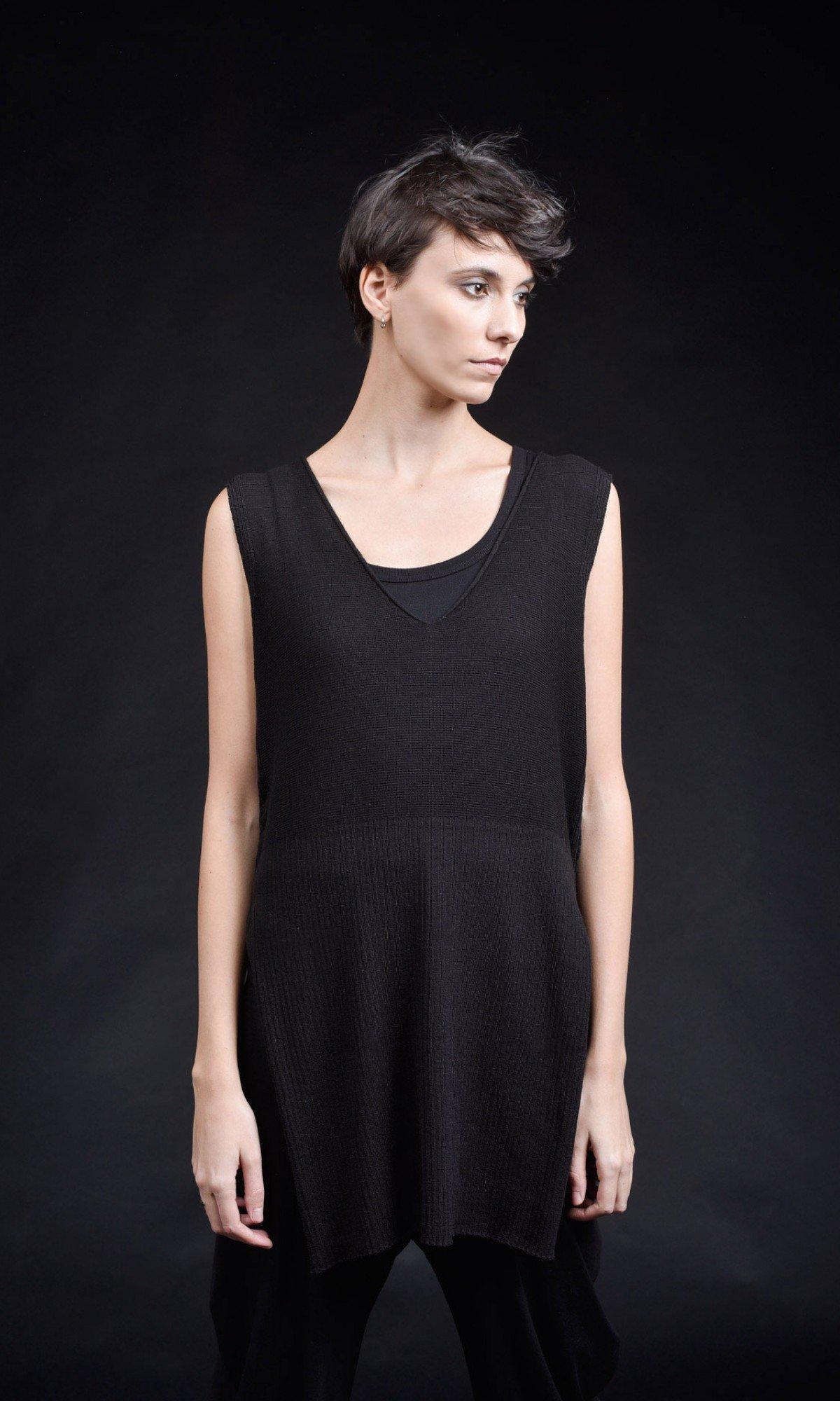 Black Deep V Neck Knit Top