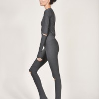 Women - Grey Sexy Open Knee Leggings A05606