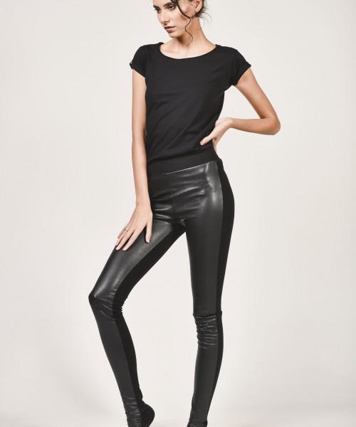 Black Faux Leather Front Leggings A05139