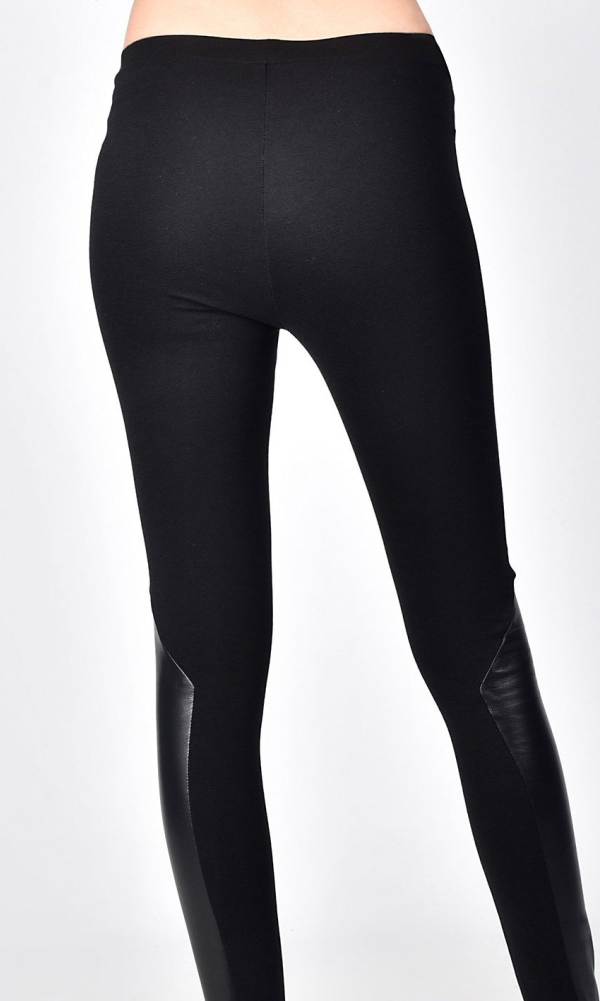 Black Extra Long Leggings with Genuine Leather Piece A05531